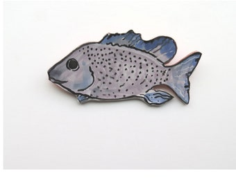 Ceramic ~Fish Art ~Ceramic Wall Sculpture ~Blue Wall Decor ~Blue Fish ~Majolica ~ocean ~Fish ~Ceramic sculpture ~blue ceramic fish