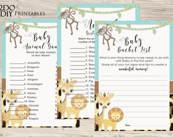 Printable Jungle Theme Baby Shower Games/ Jungle Animal Match/Safari Bucket List/ Animal Pregnancy Game/Boy/Instant Download