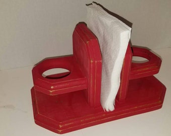Red Distressed Wooden Napkin and Salt and Pepper Shaker Holder / Shabby Chic / Rustic / Kitchen Decor