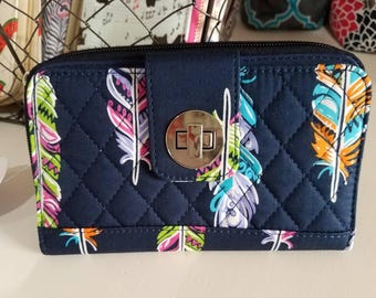 Navy Feather Quilted Wallet