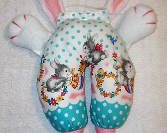 Bunny in pants, Rabbit in pants,  Bunny fabric, Bunny with large ears, Bunny with paws