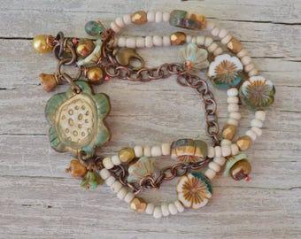 Boho beaded bracelet Suzieqbeads - DayLilyStudio