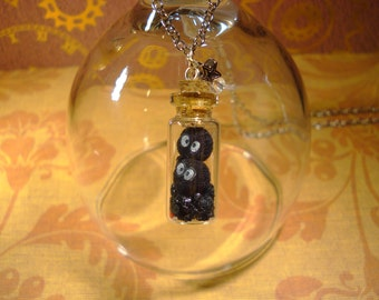 Soot Sprites with Coal in a Bottle Necklace