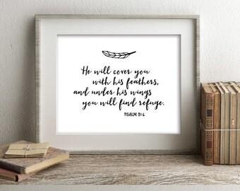 Psalm 91:4 Scripture Art Print, Modern, Simple, Digital Download, Affordable Home or Office Decor, Nursery Decor, Typography, Boho
