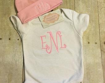 Monogrammed Baby Onesie and Hat set, Monogrammed Set