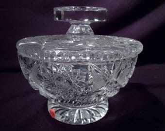 Cut Crystal Lidded, Footed Candy Dish
