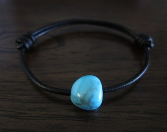 Turquoise Howlite Gemstone on Adjustable Black Leather Sliding Knot Cord