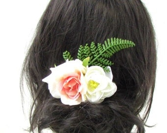 Blush Pink Ivory Green Fern Rose Flower Hair Comb Bridal Bridesmaid Clip Vtg 936