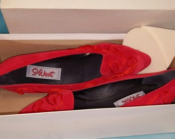 Vintage Red Suede Shoes size 7 1/2 by 9 West