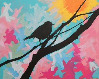 Landscape Art Sunset Bird Tree Branches Scene Landscape Acrylic Painting Original Wall Art Expressionist Impressionist Painting Sketch