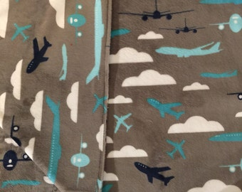 Baby Blanket Toddler Blanket Airplane Blanket Aeronautical Blanket Pilot Navy Grey Teal White Stroller Blanket Also in Grey and Black