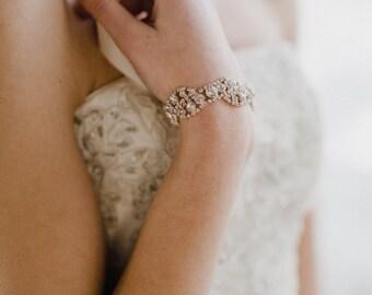 Rose Gold Bracelet   Rose Gold Bridal Bracelet   Rose Gold Cuff Bracelet   Blush Bridal Jewelry   Wedding Bracelet   Rose Gold Bridget Cuff