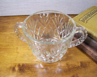 Double Handle - Pressed Glass - Sugar Dish - Crosshatch Pattern