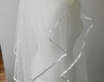 Sale Price Wedding Veil. Pale Ivory, 2 Tier Waist Length,with a 7mm Satin Edge.