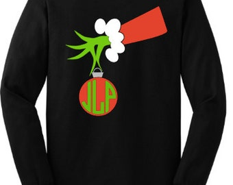 Custom/Personalized Vinyl Christmas Grinch Hand Long Sleeve Shirt With Monogram-The Grinch-Circle Monogram-Christmas-Ornament