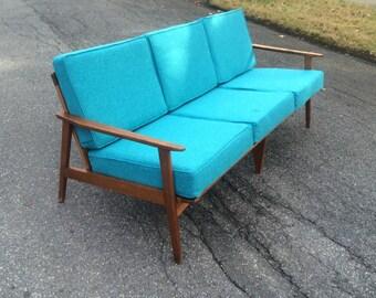 Turquoise Mid Century Sofa Modern Danish Sofa Yugoslavia Brand New Upholstery - Teal