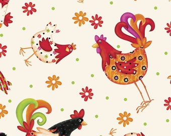 """Farm Fabric, Kitchen Fabric, Whimsical Fabric, Quilting Treasures """"Pecking Order Tossed Roosters"""" in Cream - Cotton, 1 Yard"""