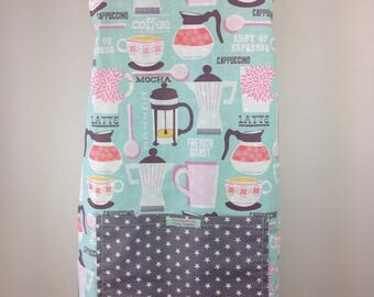 Reversible apron. Adjustable apron. Coffee apron. Women's apron. Full apron