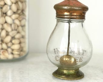 Vintage Coffee Canister / Copper & Glass Coffee Jar with Brass Spoon