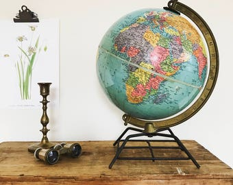 Vintage Globe with Metal Wire Stand / Mid Century Replogle Globe Metal Base