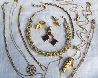 Gold tone vintage signed jewelry lot, designer 12 piece all signed lot, vintage lot, vintage to now lot, Trifari earrings, Lisner, Blanca