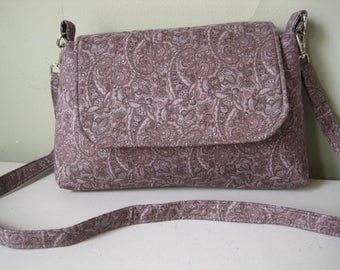 Handbag Crossbody Purse Fabric Handmade Mini Messenger Bag Women Girls Accessories Purple Paisley