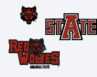 SVG, Arkansas state, red wolves, college football, cut file, printable file,  cricut, silhouette, instant download