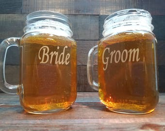 Custom Etched Bride and Groom Mason Jar Mugs with Date / Set of 2 / Personalized Wedding : Anniversary Gift / 48 Designs