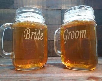 Custom Etched Bride and Groom Mason Jar Mugs / Rustic Wedding / Beer Mugs / Personalized Wedding Gift : Anniversary Gift / Set of 2