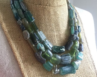 Ancient Roman Glass bead multi strand necklace