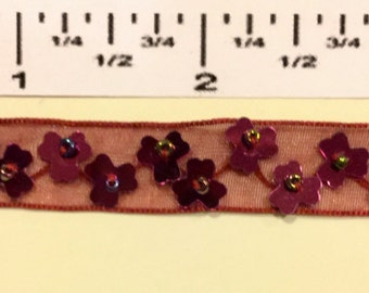 "VINTAGE Hand Beaded Trim. Burgundy sequin on Burgundy organza ribbon. 24"""
