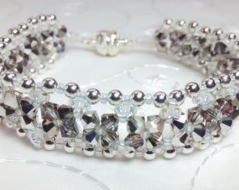 Swarovski Beaded Bracelet, Silver Bracelet, Black and Crystal Beaded Bracelet, , Black and Silver Fantasia Bracelet