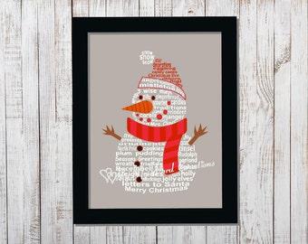 Snowman Word Art, Christmas Decoration Word Art Typography, Christmas Art, Instant Download, PRINTABLE DIGITAL FILE