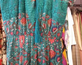 Pink and Teal Romper size S