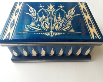 New big huge blue wooden puzzle box secret treasure adventure mystery magic box jewelry storage wooden case beautiful handcarved box gift