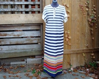 Vintage 1970s Yacht Rock White and Navy Striped KAYSER Maxi Dress Full Length Terrycloth 100% Polyester With Rainbow Striped Hem