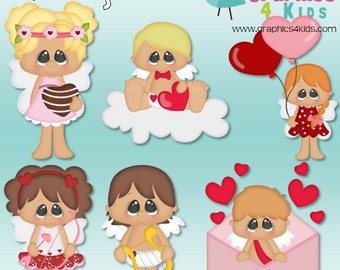 Cupid original eyes Valentine Digital Clipart - Clip art for scrapbooking, party invitations - Instant Download Clipart Commercial Use