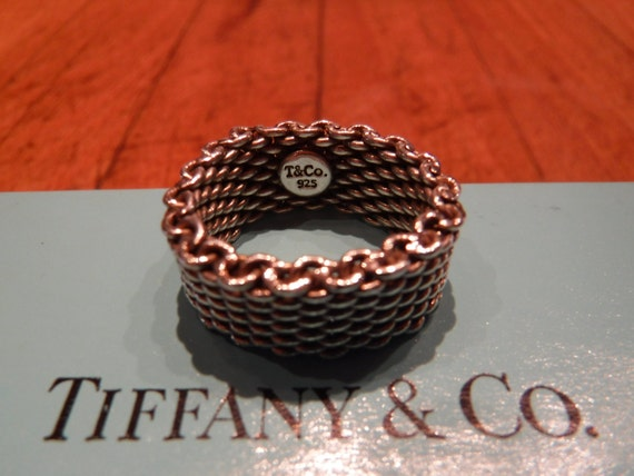 Authentic Tiffany & Co Somerset Mesh Ring Size 6 Sterling Silver 925 Ring Tiffany Somerset Weave Ring Heavy 8.6 grams Tiffany Silver rings