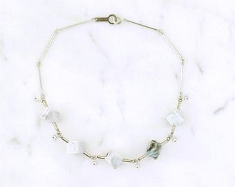 necklace marble cubes silver plated brass
