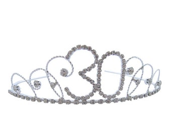 30th Birthday Diamante Crystal Tiara - Silver Plated Finish
