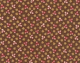 Sweet Charlotte Small Brown Floral Reproduction from Robert Kaufman by the yard