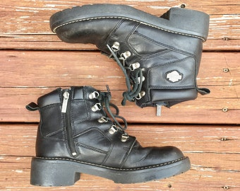 Harley Davidson leather combat boots / size mens US 9 / free shipping