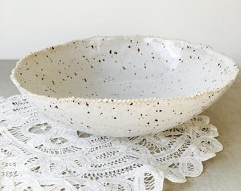 Large Speckled Serving or Salad Bowl