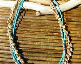 Shell & turquoise beaded boho necklace
