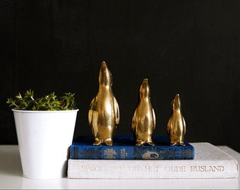 3 Vintage 50's Solid Brass Penguin Figurine, Animal Figurine, Collectibles, Animal Art, Penguin Art, Whimsical Bird Art, Bird Totem