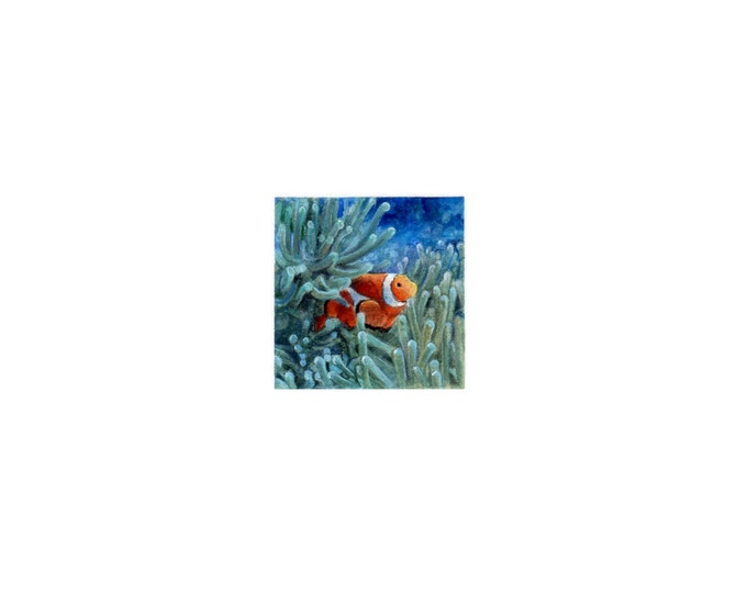 "Print of miniature painting of a Clown Fish (Nemo). 1 1/4""x1 1/4"" print of original Clown Fish painting on 5"" square german etching paper"