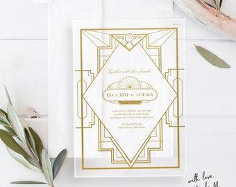 Art Deco Acrylic  Wedding Invitations