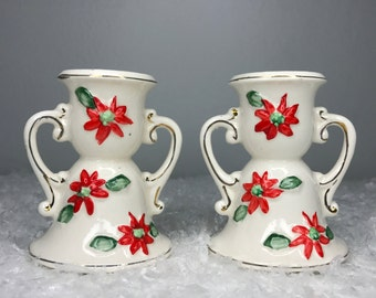 set of 2 vintage hand painted ceramic candle holders with poinsettias