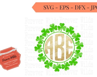 Shamrock monogram SVG - St Pattys svg - st. patricks day monogram - vector files for cutting machine- svg - dxf -eps - monogram NOT included