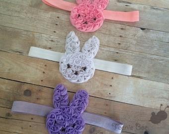 Easter Bunny Headband - Babys First Easter Headband - Baby Easter Headband - Pink Easter Headband - Easter Hair Bow - Easter Headband
